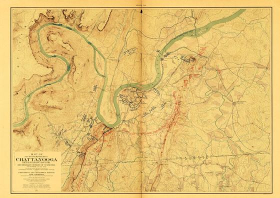 Map of the Battle Fields of Chattanooga Lookout Mountain 1901 Print/Poster (5225)